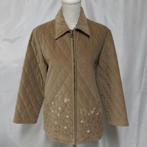 Alfred Dunner Tan Embroidered Quilted Zip Up Coat